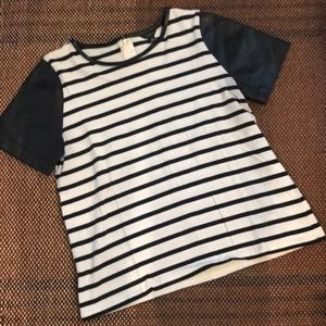 Ann Taylor striped top with pleather sleeves.